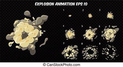 矢量, explode., 爆炸, 鬼怪, 动画, 产生, 爆炸, smoke., frames., 被单, 卡通漫画