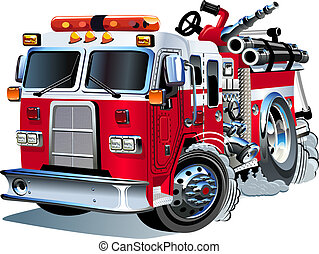 矢量, firetruck, 卡通漫画