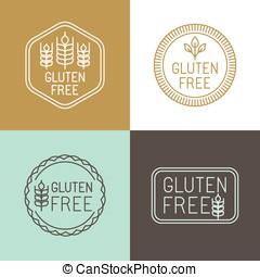 矢量, gluten, 自由, 徽章