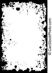 矢量, grunge, 11x17, 墨水, 邊框, splat
