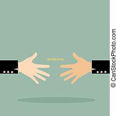 矢量, handshake., illustration.