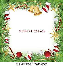 矢量, holly, 框架, decoration., 聖誕節