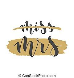 矢量, illustration., 字母, 小姐, mrs., 手寫