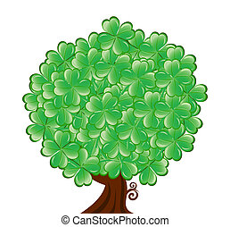 矢量, illustrationof, 四, 街, 被隔离, 白色, 三葉草, 樹, patrick's, 天, 葉子, 背景。