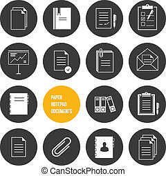 矢量, notepad, 紙, 文件, 圖象