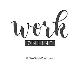 矢量, online., 工作, illustration., 手寫, 字母