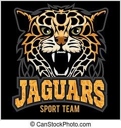 矢量, panther., 插圖, -, 美洲虎, 貓, 背景, 黑色, 隊, 荒野, 運動, shadow.