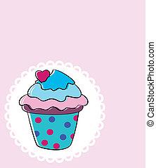 矢量, retro, cupcake