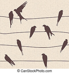 矢量, seamless, 圖案, 由于, 鳥
