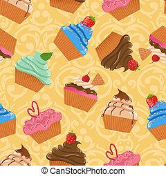 矢量, seamless, cupcake, 圖案