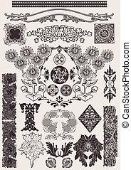 矢量, set:, calligraphic, 設計元素, 以及, 頁, 裝飾