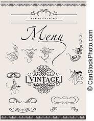 矢量, set:, calligraphic, 設計元素, 為, 頁, 裝飾