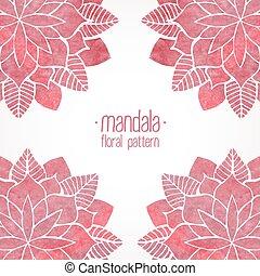矢量, watercolor, 植物群, 粉红色, 模式, 白色, 带子, 背景。