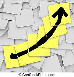 矢, の上, 追跡, 成長, 成功, スティッキーノート