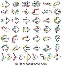 矢, アイコン, セット, 線, 3d
