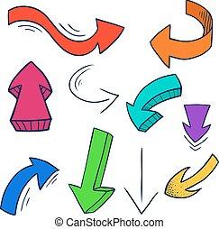 矢, セット, カラフルである, いたずら書き