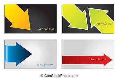 矢, セット, カラフルである, カード, ビジネス