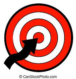 矢, ターゲット, 指すこと, 中心