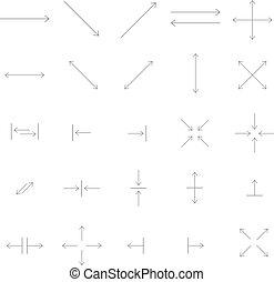 矢, ベクトル, アイコン, セット, 中に, 薄いライン, style.