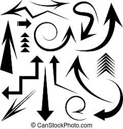 矢, ベクトル, セット, アイコン