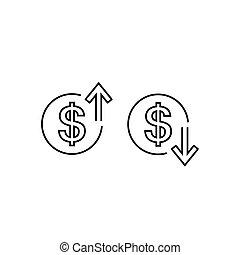 矢, 印, の上, 色, ベクトル, デザイン, ドル, 平らなライン, バックグラウンド。, 下方に, アイコン, 白