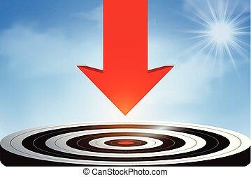 矢, 成功, idea., ビジネス, leadership., 行きなさい, 空, target., 中心, 下方に, ベクトル, 創造的, goal., 赤, イラスト, 投げつけなさい