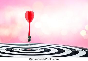 矢, 打撃, 中心, コピースペース, 上に, ダート盤, の上, さっと動きなさい, bokeh, 背景, 終わり, 赤