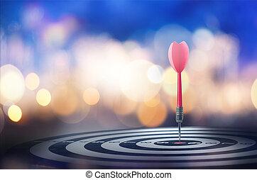 矢, 打撃, 中心, 上に, ダート盤, の上, さっと動きなさい, bokeh, 背景, 終わり, 赤