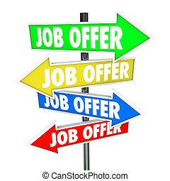 矢, 決定しなさい, キャリア, 未来, 仕事, 道, 機会, 求人, 仕事, 提供, 持ちなさい, サイン, 新しい...