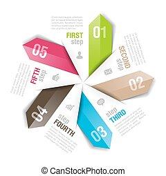 矢, 部分, 5, テンプレート, infographics, 円