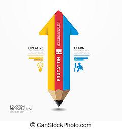 矢, 鉛筆, infographic, デザイン, 最小である, スタイル, テンプレート, /, 缶, ありなさい,...