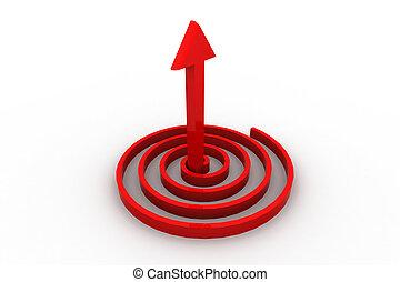 矢, 3d, の上, 指すこと, らせん状に動きなさい