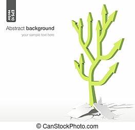矢, concept., -, 木, バックグラウンド。, ベクトル, 成長