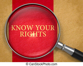 知りなさい, あなたの, 権利, によって, loupe, 上に, 古い, paper.