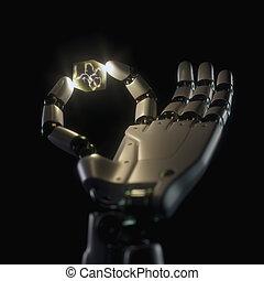 知性, 中, ニューロン, ロボット, 人工の手