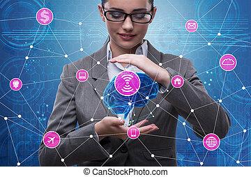 知性, 女性実業家, 概念, 人工, 脳