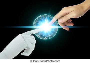 知性, concept., ロボット, 人工, 感動的である, 背景, 黒, 人間の術中, 技術