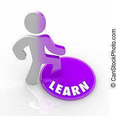 知識, いっぱいになる, ボタン, -, 人, ステップ, 学びなさい, に
