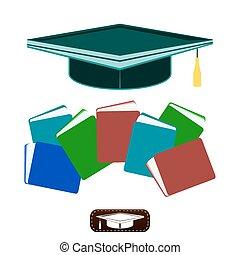知識, カラフルである, 学校, books., 帽子, 卒業生, 教育, 山, より高く