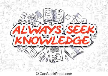 知識, ビジネス, always, concept., word., -, いたずら書き, 探しなさい, 赤