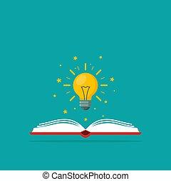 知識, ライト, 上に, ideas., 本, 出生, 電球, シンボル