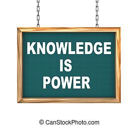 知識, 力, -, 掛かること, 旗, 3d