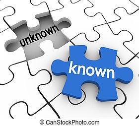 知道, 未知, 難題 片斷, 洞, 充滿, 在, 遺失, 資訊