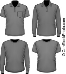 短い 袖, 男性, clothes., 黒, 長い間