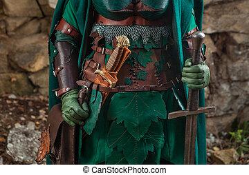 短剣,  elf's, よろいかぶと, の上, 革, 剣, 終わり