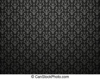 短吻鱷, 皮膚, 黑色的背景, 由于, 印象, victorian, pattern., 大, 決議