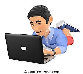 短裤, 笔记本电脑, 年轻, 下来, 人, 躺, 3d