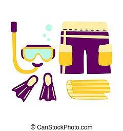 短褲, 鰭, 水下通气管, 以及, 面罩, 為, diving., 鮮艷, 卡通, 插圖
