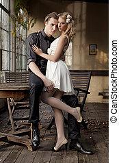 矯柔造作, 夫婦, 愛, 年輕, 肖像
