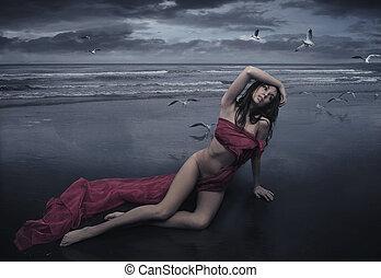 矯柔造作, 雨, 漂亮, 黑發淺黑膚色女子